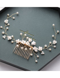 Fashion White Hand-woven Resin Hair Comb With Flowers