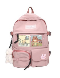 Fashion Pink Without Pendant Stitched Letter Logo Nylon Backpack