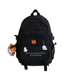 Fashion Black Without Pendant Mesh Stitching Letter Embroidery Backpack