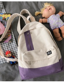 Fashion Purple Without Pendant Stitching Contrast Nylon Fabric Backpack