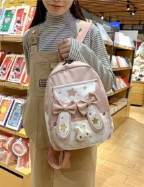 Fashion Pink Printed Bow Bunny Ears Contrast Backpack
