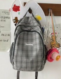Fashion Gray Without Pendant Plaid Letter Logo Canvas Backpack