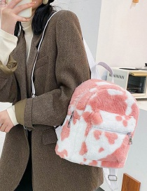 Fashion Pink Plush Cow Print Backpack