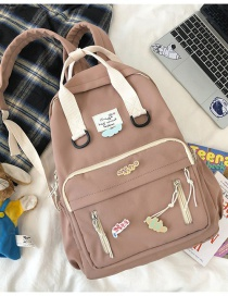 Fashion Pink Without Pendant Contrast Stitching Letter Logo Oxford Cloth Backpack