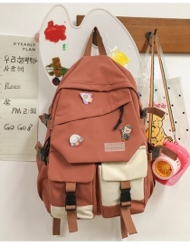 Fashion Orange Without Pendant Stitching Contrast Mortise Lock Backpack