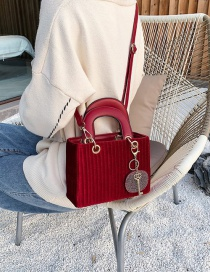 Fashion Red Wine Suede Diamond-studded Crossbody Shoulder Bag