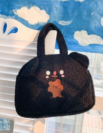 Fashion Black Without Pendant Embroidered Bear Ears Plush Shoulder Bag