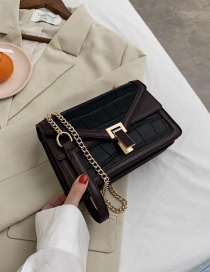 Fashion Black Chain Stone Pattern Stitching Contrast Color Crossbody Shoulder Bag