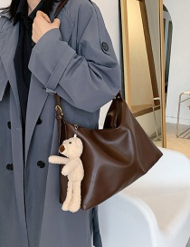 Fashion Coffee Color Soft Face Stitching Diagonal Shoulder Bag