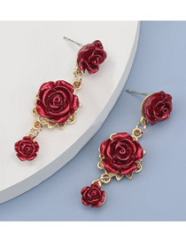 Fashion Red Alloy Rose Resin Earrings