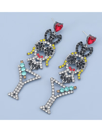 Fashion Black Rabbit Ear Alloy Diamond Hollow Earrings