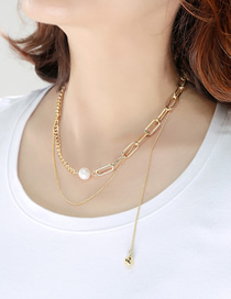Fashion Gold Color Asymmetric Chain Pearl Stitching Double Necklace