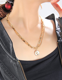Fashion Gold Color Portrait Round Alloy Multilayer Necklace