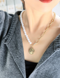 Fashion Gold Color Asymmetric Stitching Round Pearl Necklace