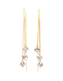 Fashion Pretty White Diamond Tassel Alloy Earrings