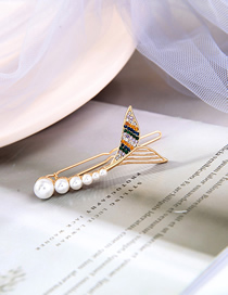 Fashion Gold Color Fishtail Pearl And Diamond Alloy Hairpin