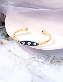 Fashion Gold Color Daisy Dripping Alloy Open Bracelet