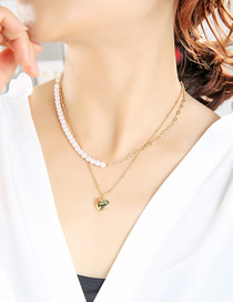 Fashion Gold Color Love Pearl Stitching Alloy Double Necklace