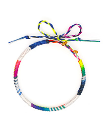 Fashion Braided Rope Mixed Colors Hand-woven Bracelet With Zinc Alloy Enamel Beads And Diamond Letters
