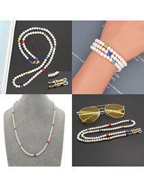 Fashion Color Mixing Handmade Beaded Pearl Eye Anti-skid Glasses Chain Necklace
