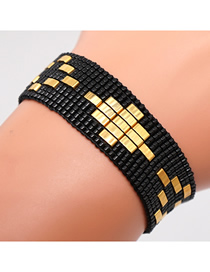 Fashion Black Rice Beads Hand-woven Geometric Bracelet