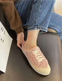 Fashion (half Drag) Pink Plush And Velvet Flat-bottomed Biscuit Sneakers