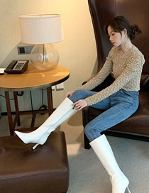 Fashion Creamy-white Pointed Stiletto Mid-heel Side Zipper High Boots