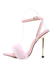 Fashion Pink Metal High-heeled Hairy Pointed Stiletto Sandals