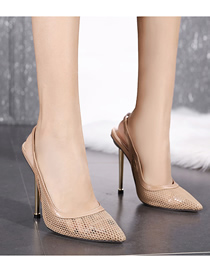 Fashion Apricot Metal High-heeled Mesh Pointed Stiletto Sandals