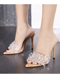 Fashion Apricot Transparent Crystal Pointed Stiletto Sandals