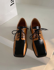 Fashion Brown Colorblock Lace-up Thick Heel Small Leather Shoes