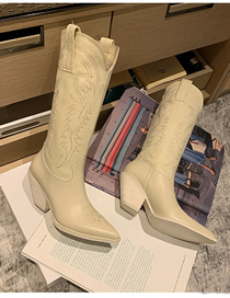 Fashion Milky Handmade Embroidery Thread Thick With Pointed Toe But Knee Knight Boots