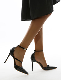 Fashion Black Hollow High Heel Buckle Pointed Sandals