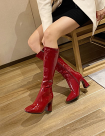 Fashion Red Wine High-heeled Patent Leather Square Toe High-top Rider Boots