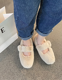 Fashion Apricot Flat-heeled Fur Shoes With Metal Buckle