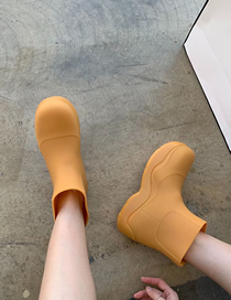 Fashion Orange Thick-soled Waterproof Inner Heightened Wool Chelsea Boots