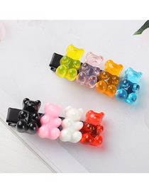 Fashion Color Mixing Bear Resin Alloy Hit Color Hairpin