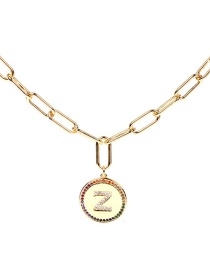 Fashion Z-40cm Letter Inlaid Crystal Diamond Round Coin Pendant Necklace