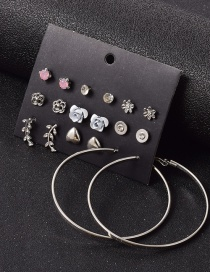 Fashion Silver Leaf Love Small Flower Geometric Alloy Earrings Set