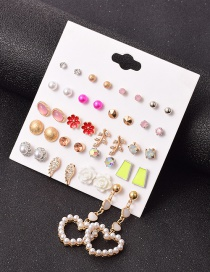 Fashion Color Mixing Alloy Heart Diamond-studded Alloy Hollow Geometric Earrings Set
