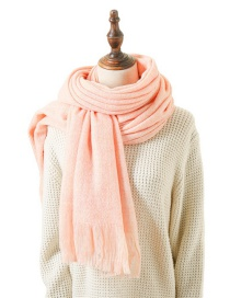 Fashion Powder Pure Color Double-sided Thick Cashmere Scarf