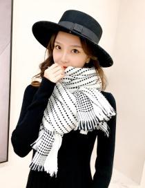 Fashion White Dotted Striped Fringe Shawl Scarf