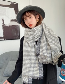 Fashion Gray Houndstooth Padded Shawl Double-sided Scarf