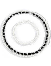 Fashion White K Aluminum Chain Pu Leather Waist Pearl Multilayer Body Chain