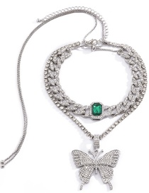 Fashion White K+green Cuban Chain Diamond Butterfly Gemstone Alloy Necklace
