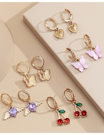 Fashion Gold Color Butterfly Cherry Set Earrings