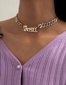 Fashion Gold Color Letter Necklace With Diamond Cuban Chain