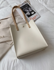 Fashion White Vertical Section Sewing Contrast Color Mother-and-child Shoulder Bag