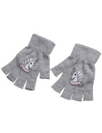 Fashion Light Grey Unicorn Kids Knitted Open Toe Gloves