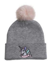 Fashion Gray Unicorn Knitted Wool Ball Children Hat